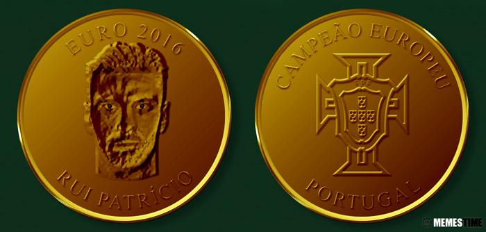 Meme com Medalha Comemorativa da Conquista do Euro 2016 pela Seleção Nacional de Portugal – Rui Patrício