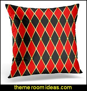 Harlequin Patterns Golden Grid with Red and Black Rhomboids Argyle Decorative Pillow Case
