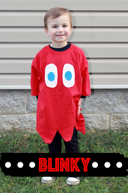 DIY No Sew Pac-man Family Costume , DIY Pac-man Family Costume, No Sew Pac-man Family Costume, DIY Pac-man Costume, No Sew Pac-man Costume, Halloween costume, DIY Halloween Costume, costume, costumes, easy costume, last minute costume, last minute family costume, last minute halloween costume, pacman ghost, pac-man ghost, Blinky, Blinky costume, kid costume, kid ghost