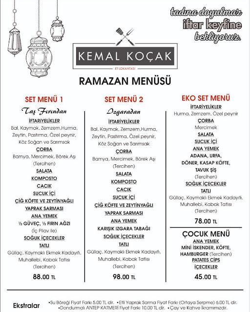 kemal koçak et lokantası kayseri iftar menü fiyat ramazan 2019 kayseri iftar mekanları