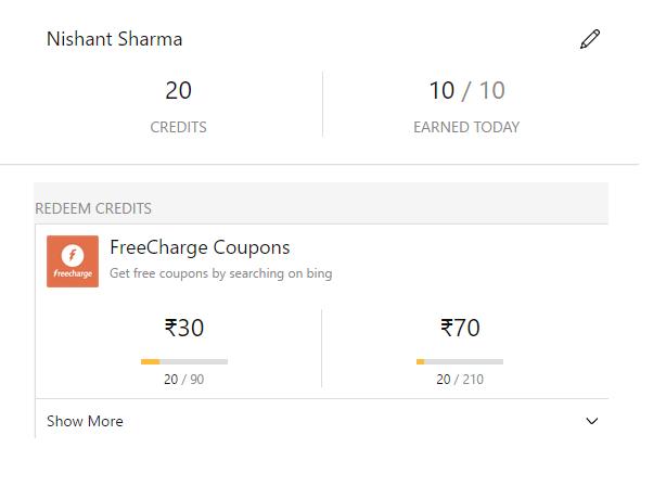 loot*) Freecharge Bing Rewards–Search on Bing & Earn