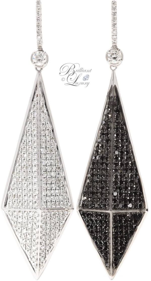 Brilliant Luxury ♦ Ofira Pyramid reversible 18-karat blackened white gold diamond earrings