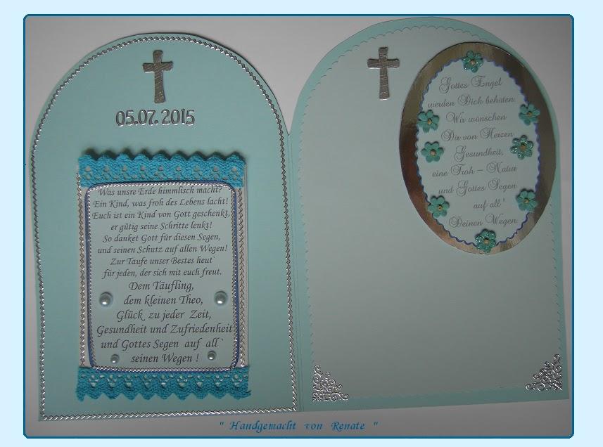 Handgemacht Von Renate Eine Karte Zur Heiligen Taufe Für