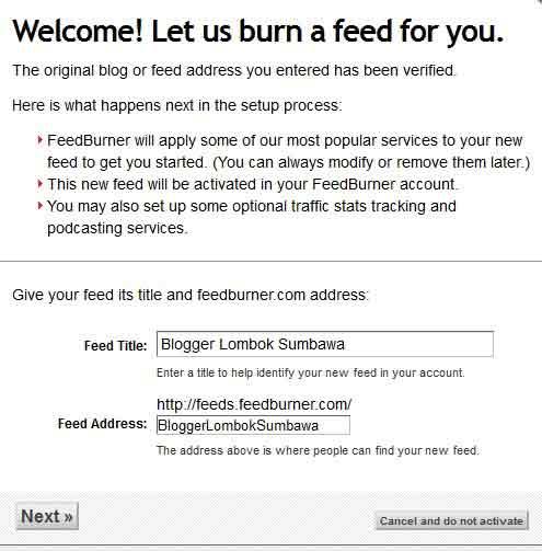 mendaftar feed burner google