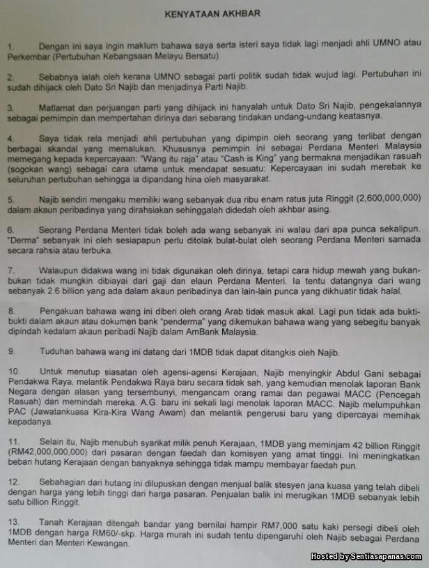 Kenyataan akhbar Tun Mahathir keluar umno