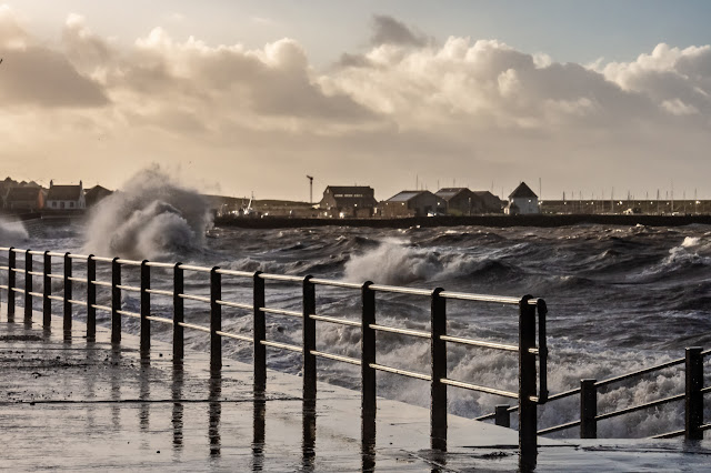 Photo of stormy weather along Maryport promenade on Friday