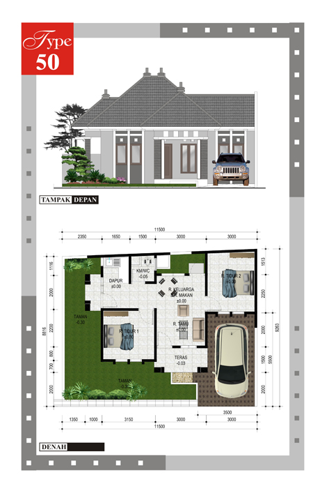 10 Gambar Denah Rumah Type 50  dan Pembahasannya Model
