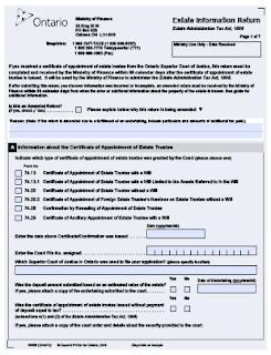 Ontario Estate Information Return