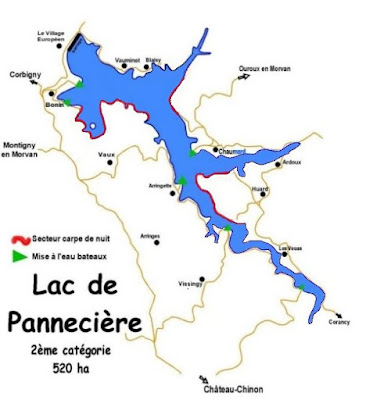 night fishing map Lac Pannecière