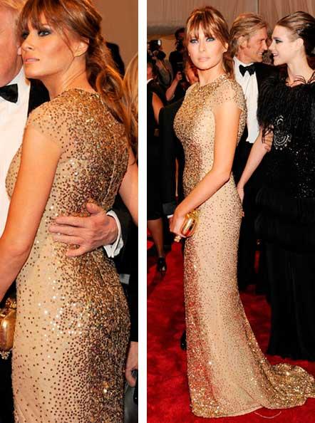 Melania Trump vestido dourado