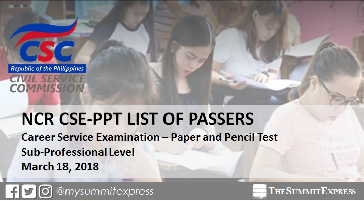 NCR Passers: March 2018 Civil service exam results CSE-PPT (Sub-Professional Level)
