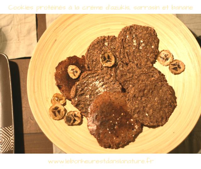 Cookies protéinés à la crème d'azukis, sarrasin et banane [vegan, sans gluten]