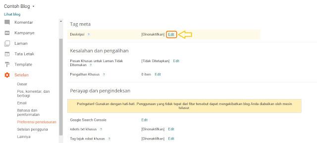 Cara menampilkan Deskripsi Penelusur Artikel Di blog