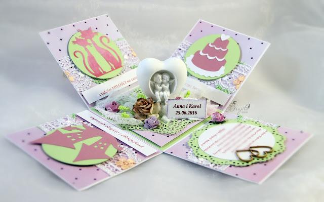 exploding box na ślub, prezent, co dać od świadków na wesele, życzenia ślubne, Magiczna Kartka Magia Ombre