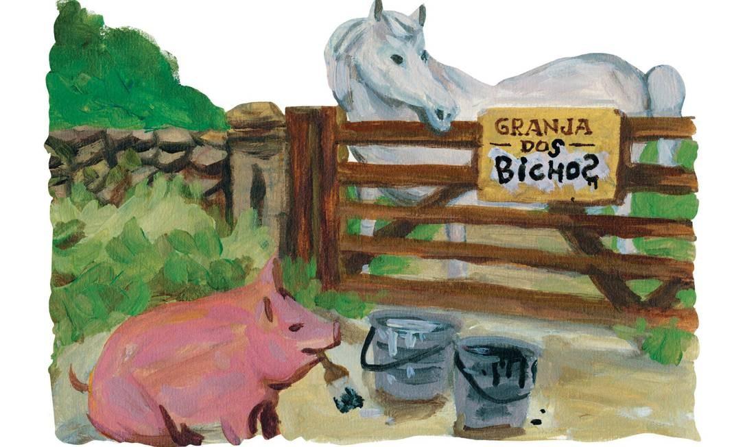 Ilustração do livro, onde os bichos trocam o nome da fazenda para Granja dos Bichos