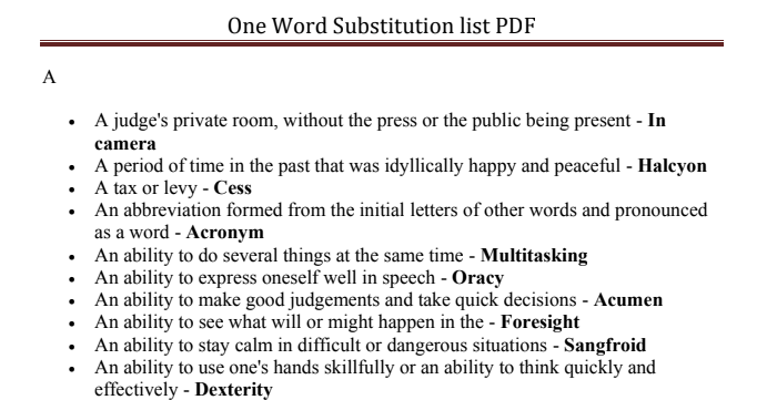 One word Substitution in English PDF Download