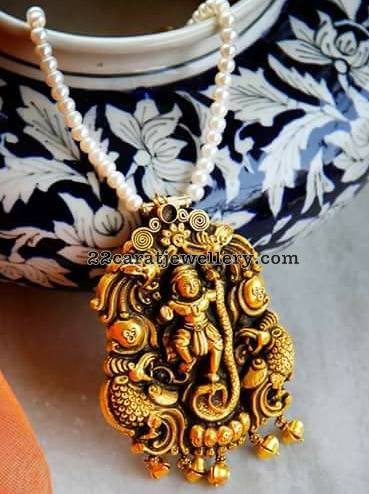 Peacock Lakshmi Antique Pendants
