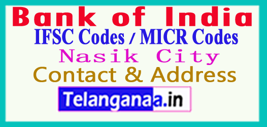 Bank of India IFSC Codes MICR Codes in Nasik City