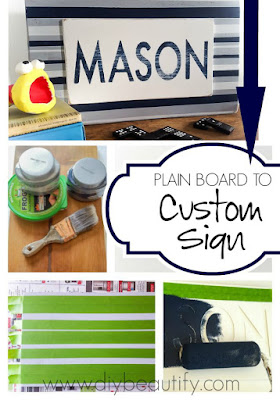 WOW! This awesome sign was created from a plain board! Get the tutorial and materials list at diy beautify!