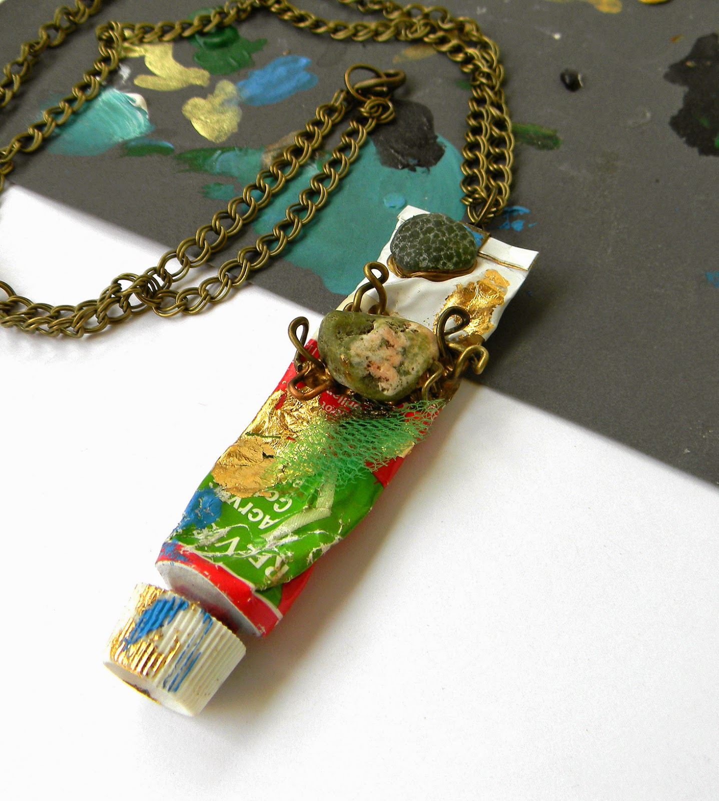 Art Jewelry Pendant with Acrylic Paint Tube and Bronze Double Chain