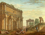 Triumphal Arch of Septimus Severus at Rome by Charles-Louis Clerisseau - Architecture, Landscape Drawings from Hermitage Museum