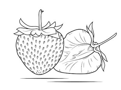 Gambar Mewarnai Buah Strawberry