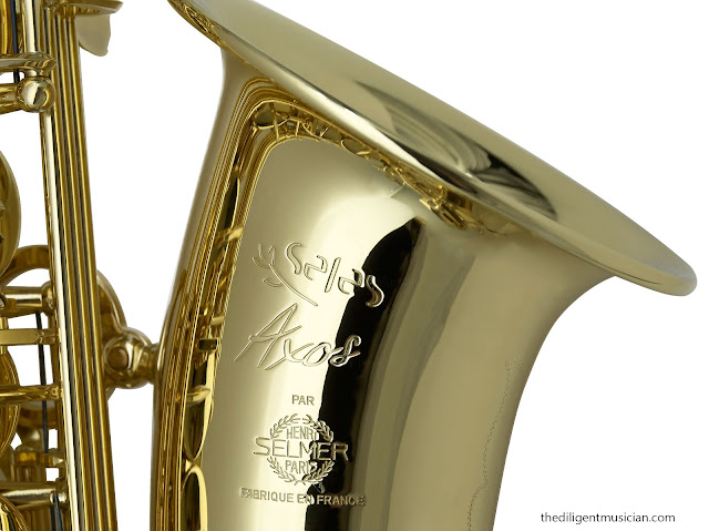 Close up of the SeleS Axos Alto Saxophone Bell Stamp
