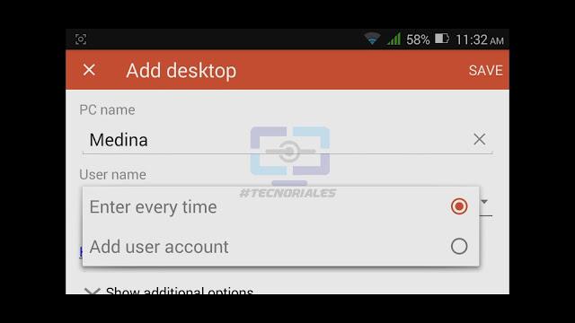 Agregar nombre del equipo para hacer remote desktop