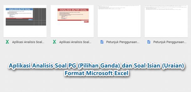 Aplikasi Analisis Soal PG (Pilihan Ganda) dan Soal Isian (Uraian) Format Microsoft Excel