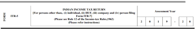 ITR-5 Form for AY 2019-20 (FY 2018-19)
