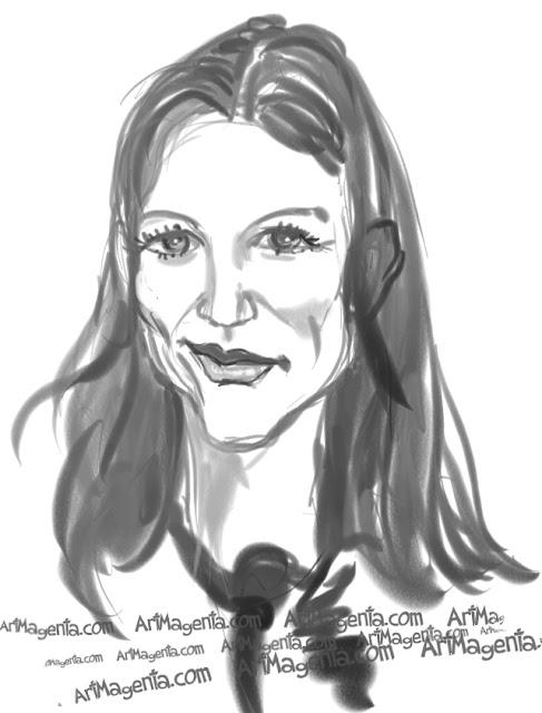 Katie Holmes caricature cartoon. Portrait drawing by caricaturist Artmagenta.