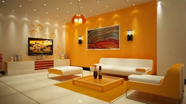 Ruang tamu cantik bertema orange di bagian partisinya