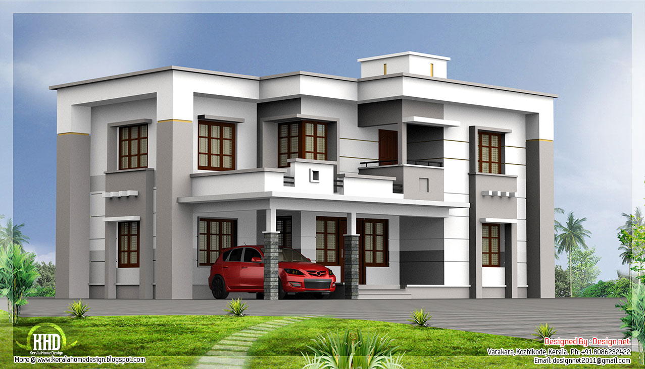 2400 square feet flat roof house kerala home design and for Square house design
