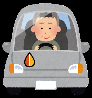高齢者マークを付けて運転する人のイラスト(もみじ)