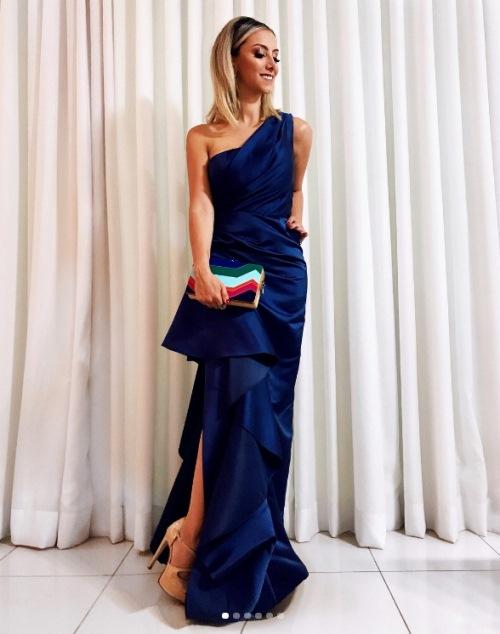 vestido de festa azul  royal, azul cobalto