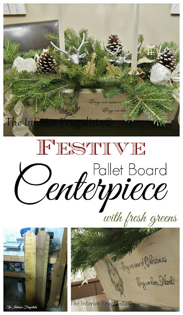 Festive Pallet Board Centerpiece With Fresh Greens