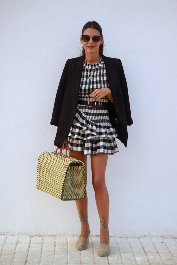 Cuadros Vichy, estampado cuadros, conjunto falda y top
