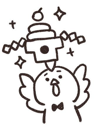 鏡餅を掲げるニワトリのイラスト(酉年・白黒線画)