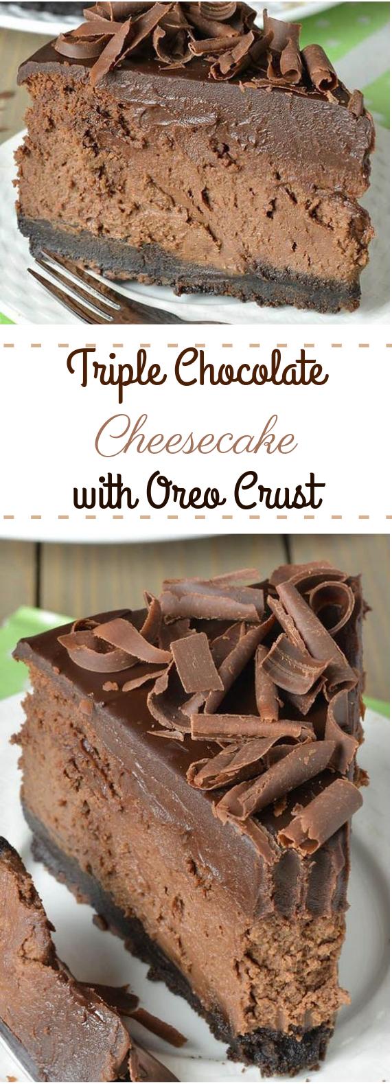 Triple Chocolate Cheesecake with Oreo Crust #chocolate #cake