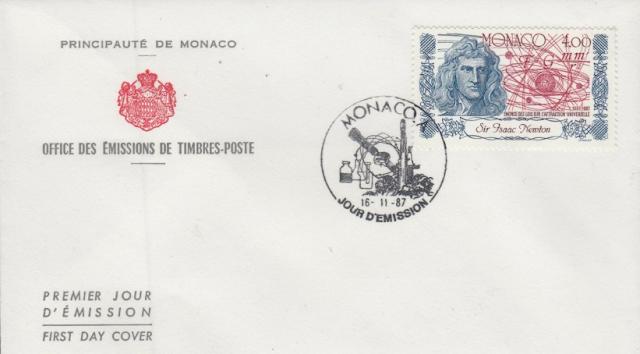 Isaac Newton publishes Philosophiæ Naturalis Principia Mathematica.stamp Monaco FDC
