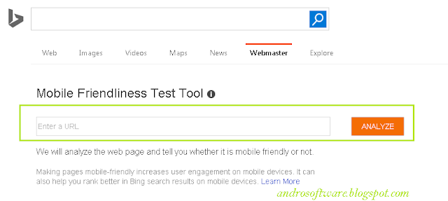 Cara Test Mobile Friendly Blog di Bing Webmaster