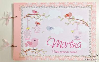 album álbum de fotos decorado personalizado artesanal festa 1 aninho jardim encantado passarinho floral delicado rosa menina scrap scrapbook scrapbooking