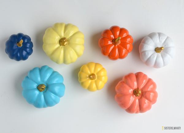 diy rainbow pumpkin decor