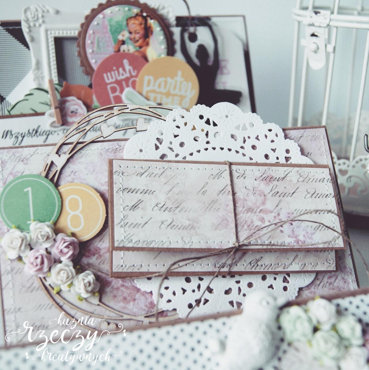 Ręcznie robiona kartka z okazji osiemnastych urodzin dziewczyny.