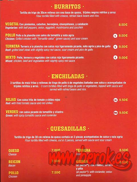 carta restaurante mexicano Cantina la Hacienda