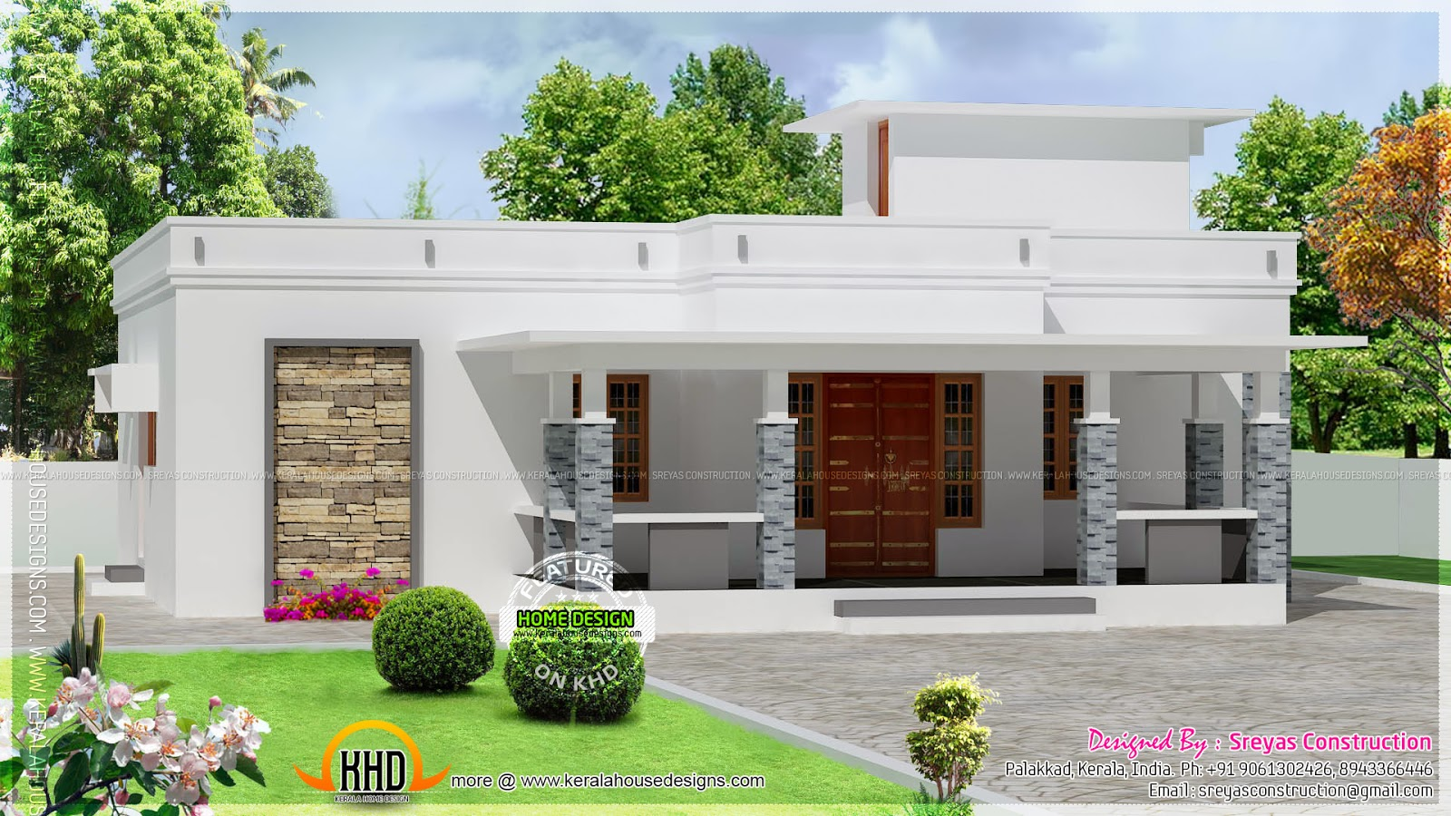 Small house elevation with 3d rendering and 2d drawing for Flat roof elevation