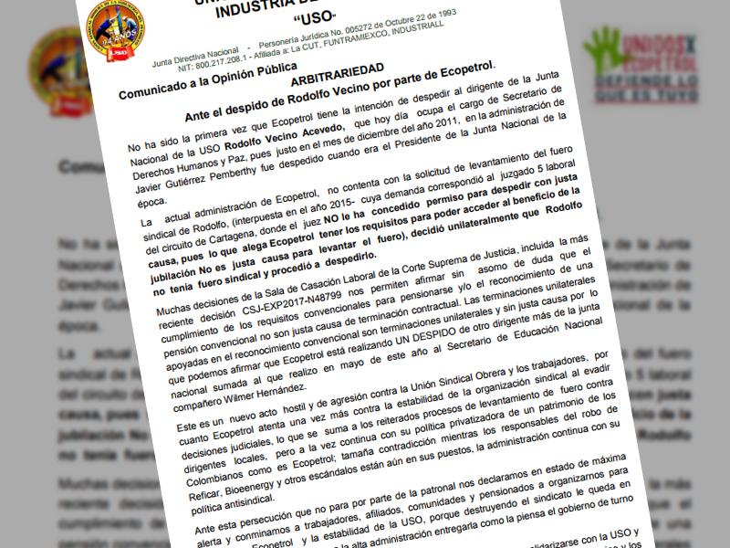 Arbitrariedad ante el despido de Rodolfo Vecino por parte de Ecopetrol.
