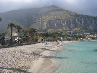 The sandy beach at Mondello, the pretty resort just along the coast from Palermo