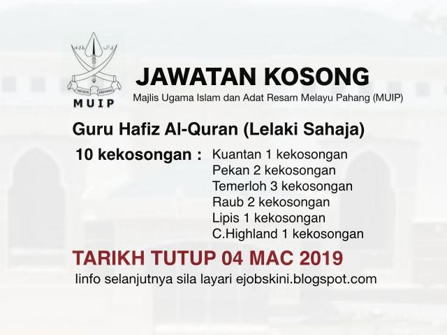 Jawatan Kosong Majlis Ugama Islam Dan Adat Resam Melayu Pahang Muip Mac 2019