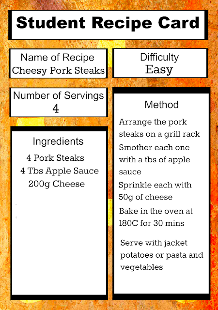 Free Printable Student Recipe Card: Easy Cheesy Pork Steaks